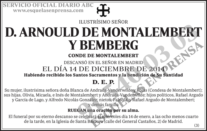 Arnould de Montalembert y Bemberg
